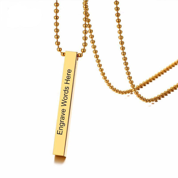 Engraving Necklace Personalized Named/Record Stainless Steel Vertical Cuboid Bar Pendant Necklace