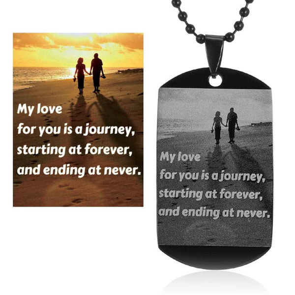 Engrave Your Photo On Necklace Stainless Steel ID Tag Necklace