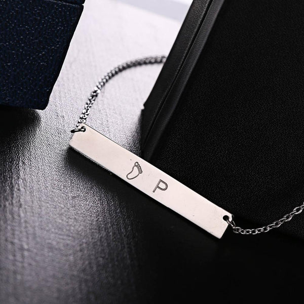 Personalized Engraved Nameplate Word Charm Jewelry Stainless Steel Pendant Necklace