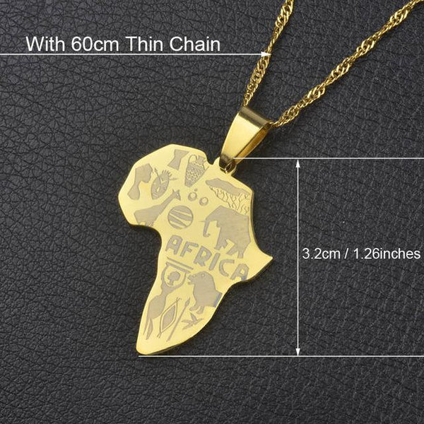 9 Style Africa Map Pendant Necklace