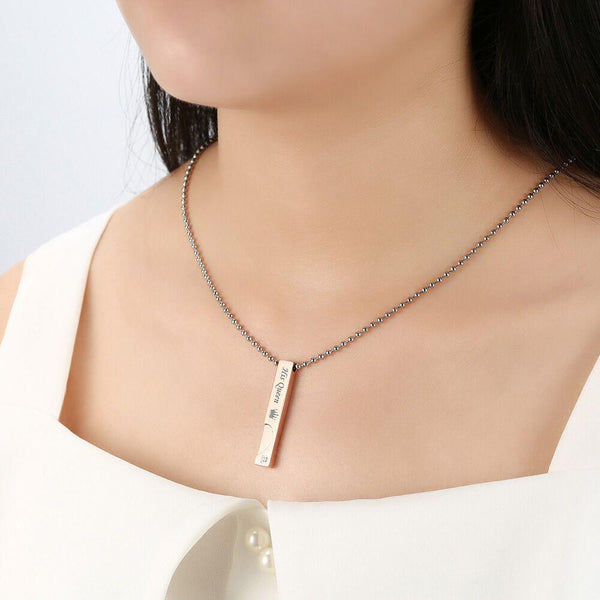 Couple Necklaces with Box Best Gift Necklace For Lover Stainless Steel Men Female Fashion Jewelry
