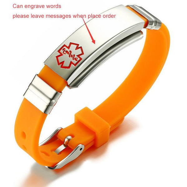 Engraving Medical Alert Bracelet Stainless Steel and Rubber ID Bracelet Bangle 5 Colors