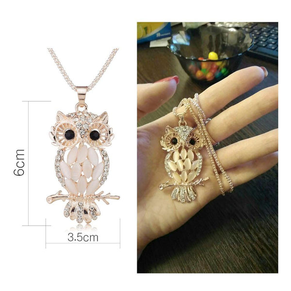 Owl Crystal Charming Flossy Necklaces & Pendants