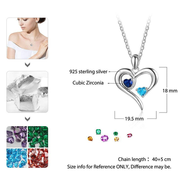 Personalized 925 Sterling Silver 2 Birthstone Necklace Pendants Engraved Heart BirthStones Jewelry