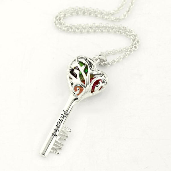White Gold Color Mum Heart Cage Key Necklace Birthstone Family Tree Pendant Women Fashion Jewelry
