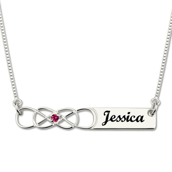 Infinity Bar Necklace with Birthstone Engraved Couple Infinity Names Necklace