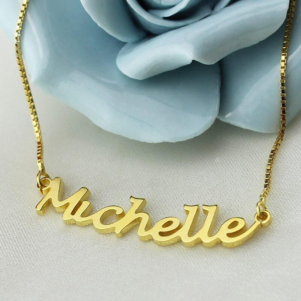 Personalized Gold Color Hand written Name Necklace Custom Letter