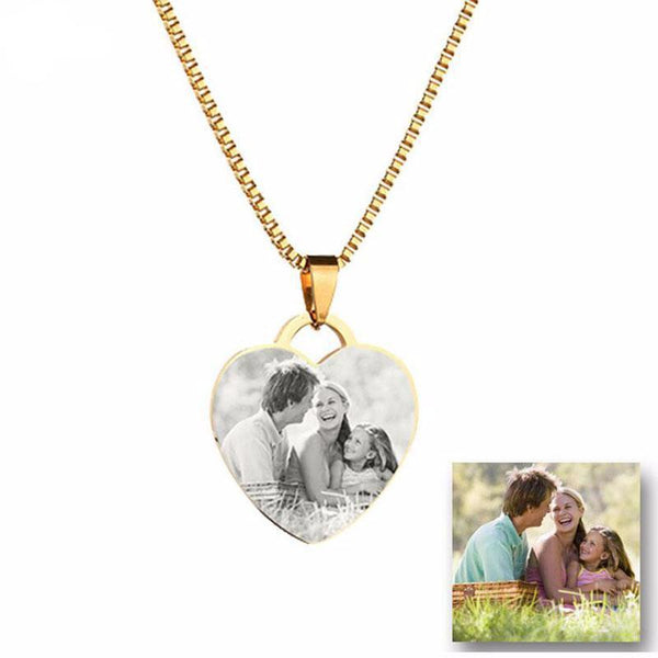 Front Back Name Plate Necklace Custom Tag Stainless Steel Pictures Photo hearts Necklace