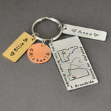 Personalised Keychain Custom Map & Names