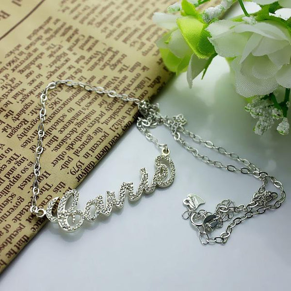 Sparkling Cut Carrie Style Name Necklace Personalized Nameplate Necklace Custom Jewelry for Her