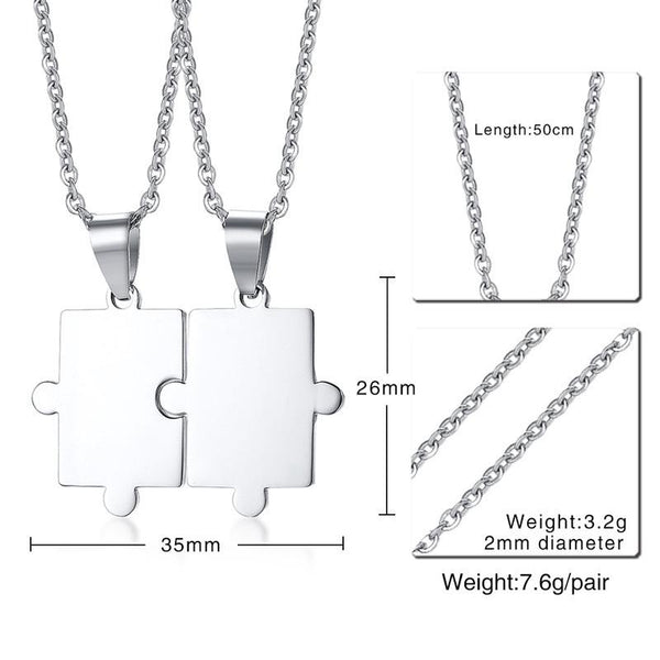 Engraving Personal Couple Puzzle Necklace for Women Men Stainless Steel Pendant Lover's