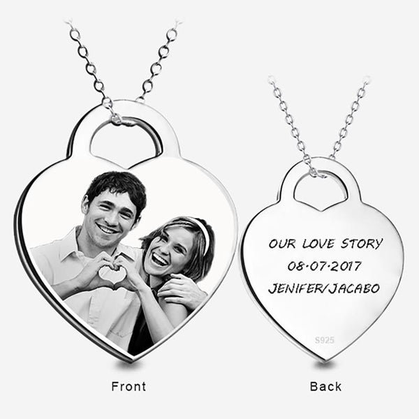 925 Sterling Silver Custom Name & Photo Necklace Personalized Engraved Pendants Necklaces