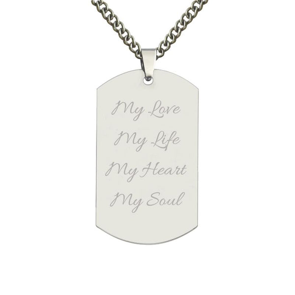 Personalized Color Photo Stainless Steel Necklace Engraved Dog Tag Pendant Memorial Gift