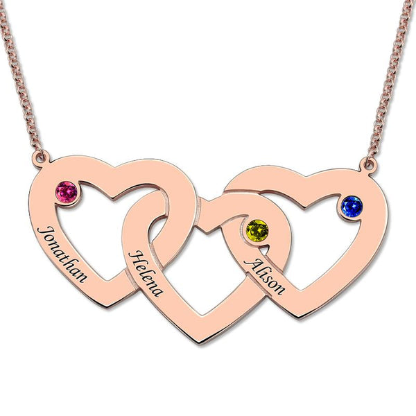 Three Hearts Birthstones Necklace Rose Gold Color Heart Pendant with Birthstone Mother's Necklace