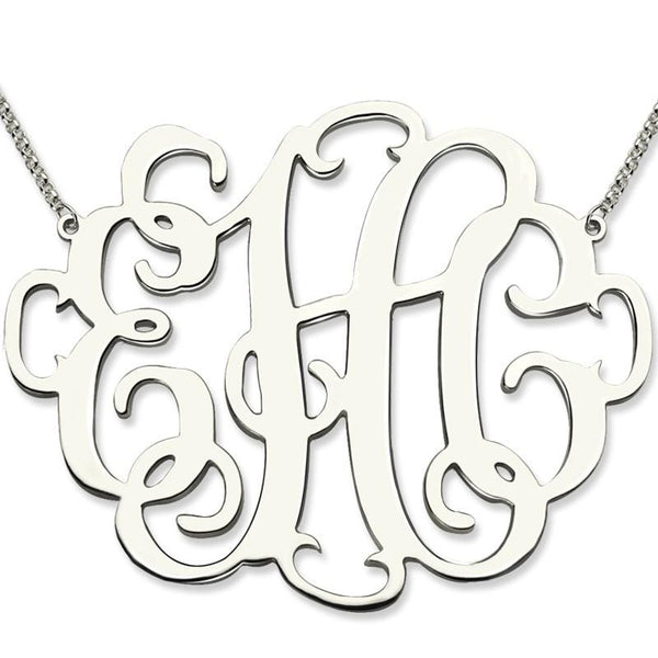 XXL Monogram Necklace 2 Inch Personalized Initials Necklace Sterling Silver