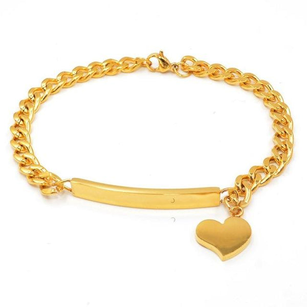 Personalized ID Heart Bracelet Bangles Stainless Steel Silver/Gold Color