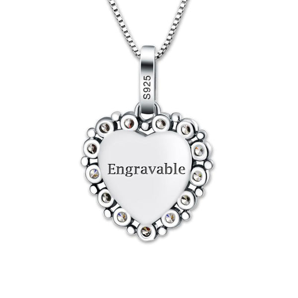 Crystal Heart Photo Necklace 925 Sterling Silver Engraved Necklace Anniversary Gift