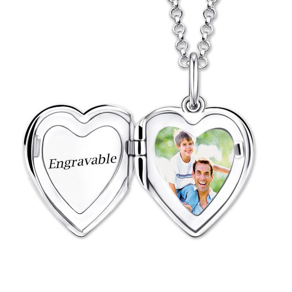 Engraved Heart Photo Locket Memorialize Pendant Necklace Gift