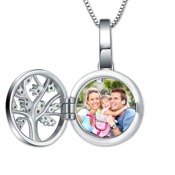 Cusomed Family Tree Round Photo Necklace for Mother Sterling Silver Photo Jewelry