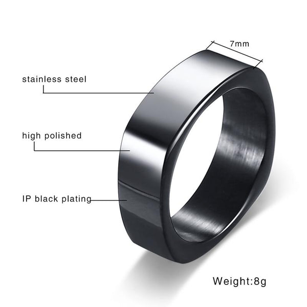 Engraving Name Stylish Square Shape Ring for Men Customized Info