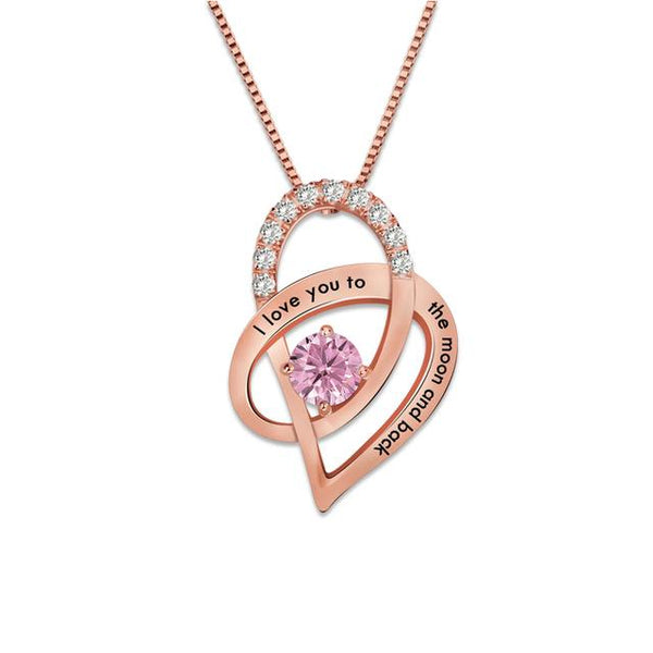 Custom I Love You to the Moon and Back Necklace Rose Gold Color