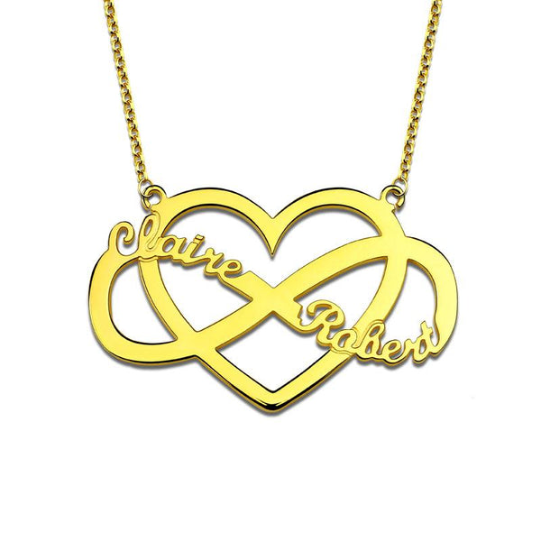 Personalized Unique Infinity and Heart Name Necklace Gold Color Infinity Symbol Jewelry for Her