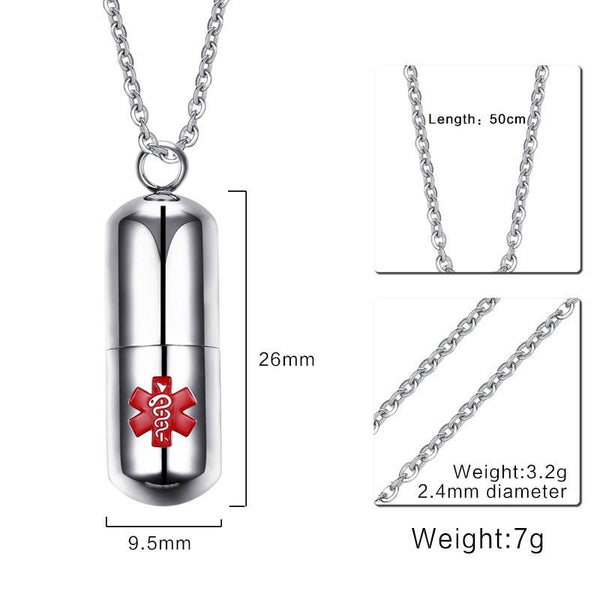 Stainless Steel Pill Shape Container Holder Openable Bottle Medical Necklaces & Pendants