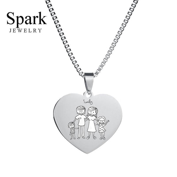 Customized Jewelry Name Photo Heart Pendant Necklace Stainless Steel Sliver Plated Name Necklace