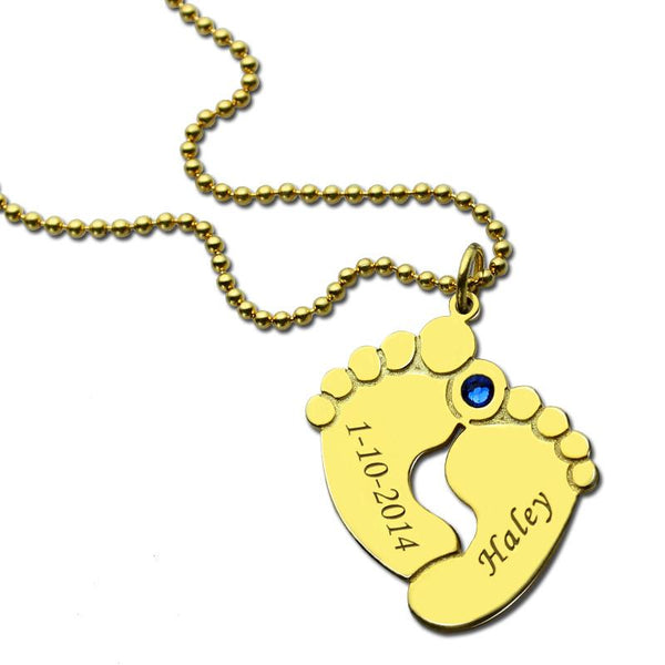 Name & Date Baby Necklace Gold Color Personalized Birthstone
