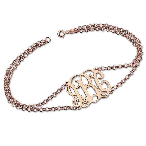 Sterling Silver Monogram Bracelet with Double Chain Monogram Initial Bracelet for Women