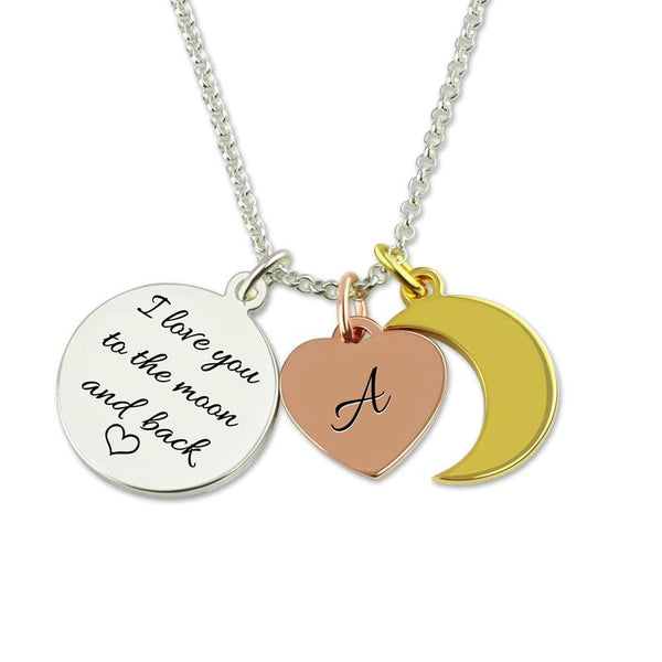 Personalized Engraved Love You To The Moon And Back Charm Necklace Heart Pendant Sterling Silver