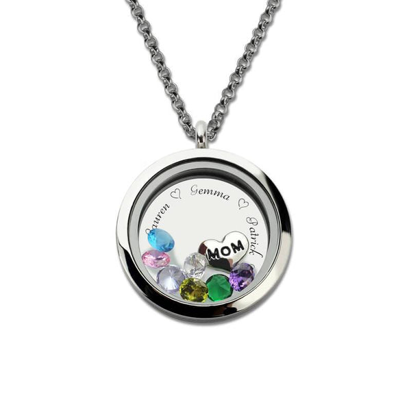 Engraved Floating Charm Locket For Mom or Grandma Best Christmas Gift
