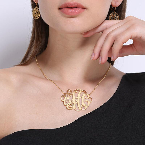 XXL Monogram Necklace 2 Inch Personalized Initials Necklace Gold Color Handmade Monogram Jewelry