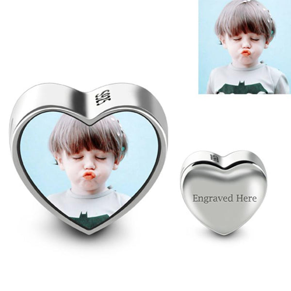 Personalized Heart Photo Charm Fit Bracelet and Necklace Jewelry Accessories