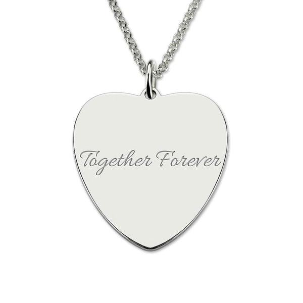 Personalized Heart Color Photo Engraved Necklace Stainless Steel Necklace Memorial Gift for Her
