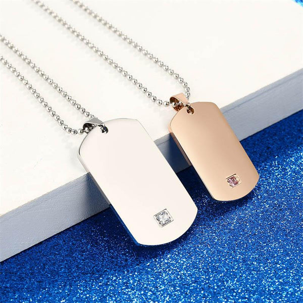 Customized Engraving Tag Pendant Necklace Stainless Steel Necklaces with Stone