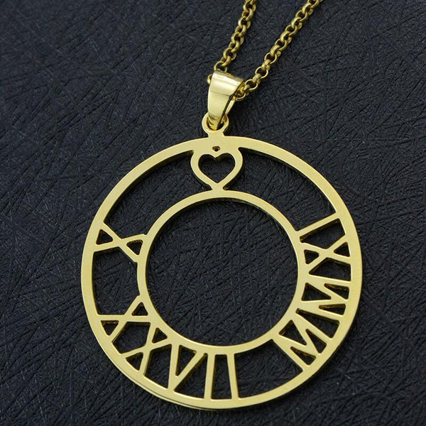 Circle Necklace Roman Numeral Date Necklace Gold Color Custom Jewelry