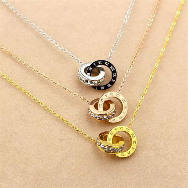 New Arrival 316L Stainless Steel Pendant Necklace Double Loop AAA CZ Roman Numerals Necklace