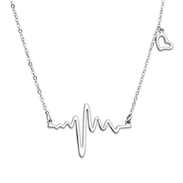 Love Heartbeat Necklace Sterling Silver Lifeline Pulse Pendant Gift For Her
