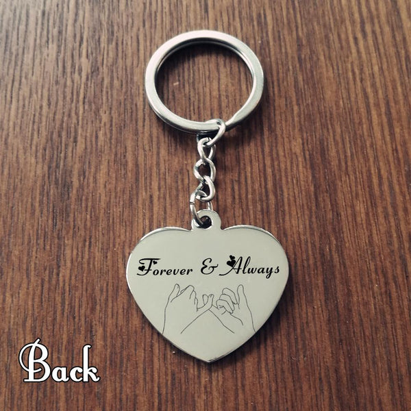 Custom Engrave Photo Name Heart Keychain Stainless Steel Personalized Name Lovers Keychain Gift