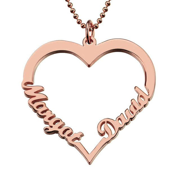 Customized Heart Name Necklace Couples Heart Pendant with 2 Names Love Necklace Gift for Women