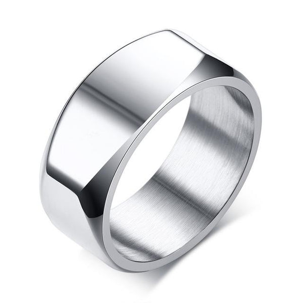 8mm Engraving/Record Mens Ring Punk Stainless Steel Basic Ring