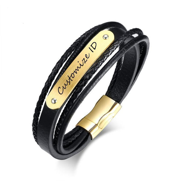 Engraving ID Bracelet Stylish Black Genuine Braided Leather Cuff Bracelets Bangles