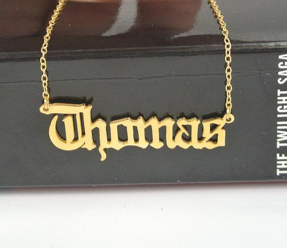 Personalized Gold Chain Gargantilha Old English Name Necklaces Maxi Colar For Women