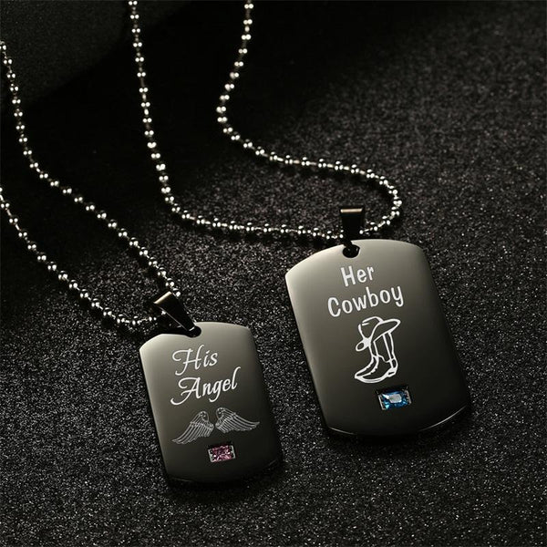 Couple Necklaces Her Cowboy & His Angel Black Stainless Steel Wing Tag Pendant Necklace with Stone