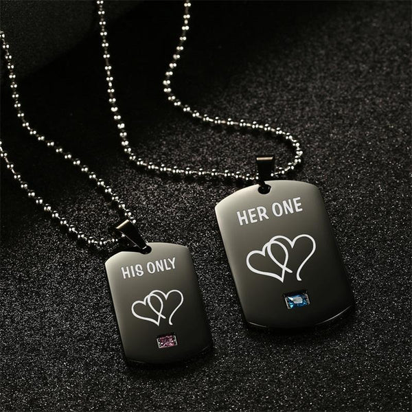 Her One & His Only Couple Necklaces Black Stainless Steel Heart Tag Pendant Necklace with Stone