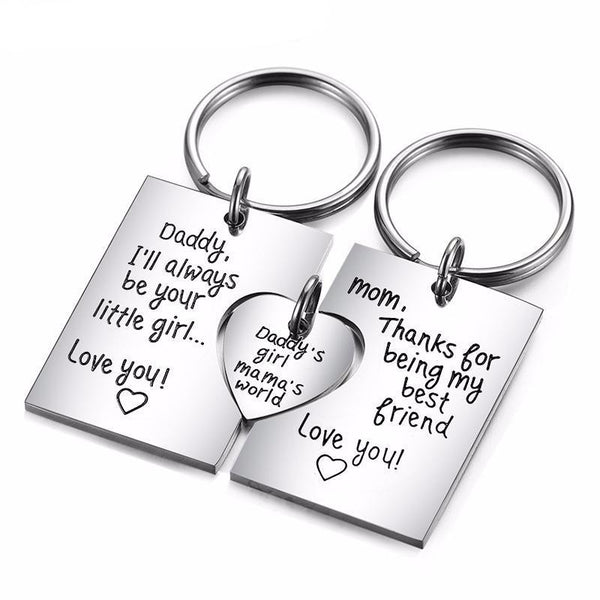 Unique Family Gift DIY Engrave Logo Stainless Steel Pendant Necklace Keychain Love