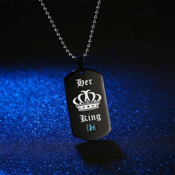 Her King & His Queen Couple Necklaces with Crown Black Pendant Necklace for Lover