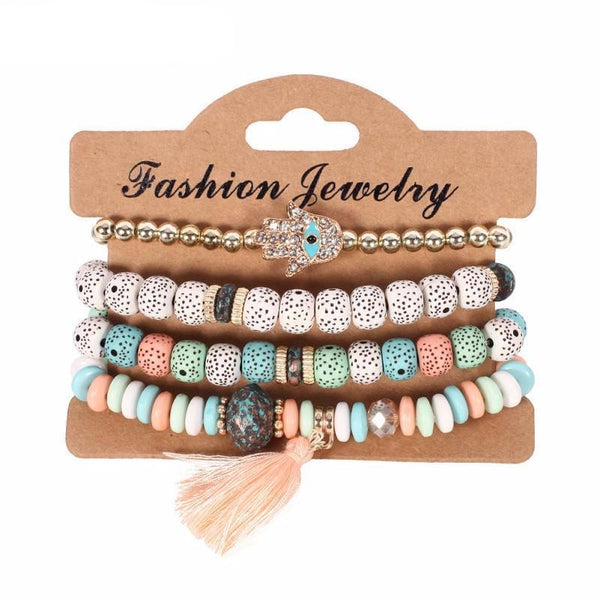 Free Bracelets - New Fashion Vintage Ethnic multilayer big beads Bracelets