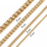 50cm 60cm Womens Mens Necklace Gold Color Box Link Stainless Steel Chain